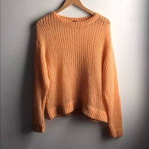 Free People orange sherbet alpaca knit sweater